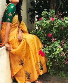 Yellow Chanderi Silk Fabric Machine Work Embroidered Saree #saree #silksaree #womensaree #fashion #fashionblogger
