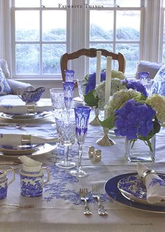 Love blue, hydrangeas, crystal, blue and white china