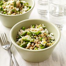 Greek Farro Salad with Asparagus, Peas, Feta and Dill (6 points)
