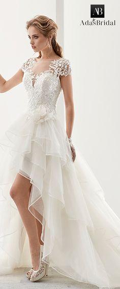 Attractive Tulle & Satin Bateau Neckline A-Line Hi-Lo Wedding Dresses With Lace Appliques