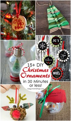 The best unique DIY Christmas Ornament Tutorials. Over 15 great ornaments to make in 30 minutes or less