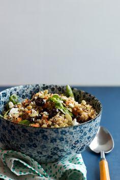 sweet potato quinoa salad w/ cranberries and feta