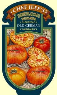 OLD GERMAN Old German is a large tomato with yellow and red marbled flesh, fruity flavor and smooth texture.  It originated from the Mennonite area of the Shenandoah Valley in Virginia in the 1800's. The 2 pound, odd-shaped beefsteak fruits are both beautiful and taste great.  I recommend this heirloom as one of the best slicing tomatoes on the market. If you are a tomato lover, you should add this variety to your garden! Indeterminate