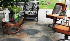 Custom-Crafted Patio in Multi-Colored Flagstone