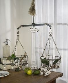 Gracie Oaks This hanging scale is modeled after an antique. The scales looks like a vintage grocery hanging scale. It has a basket on each side to use decoratively. Agate Decor, Hanging Scale, Led Light Box, Small Space Organization, Vintage Metal, Vintage Scales, Ball Lights, Metal Letters, Ceramic Table