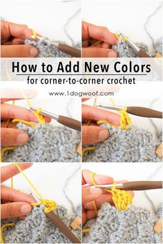 Nine step-by-step corner to corner crochet pictorials for beginners with large, clear images and matching instructions on how to c2c crochet.