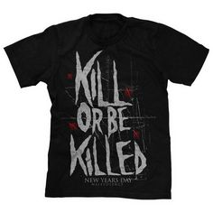 Kill Or Be Killed Black ($16) ❤ liked on Polyvore featuring tops, shirts, band merch, nyd and shirt tops
