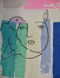 """Cubist Portraits with Watercolor                     Contour Line Portraits with """"Bleeding"""" Tissue                        When I was a stud..."""