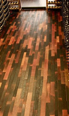 reclaimed wine barrel flooring... the inside of the barrel....I would love to have these floors