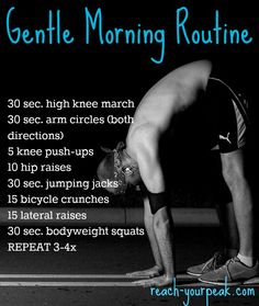 Want to be active in the morning but aren't ready for an intense workout? Here's a gentle morning workout you can do in the AM Teen Workout Plan, Whole Body Workouts, Cardio At Home, Bicycle Crunches, Early Morning Workouts, Toned Abs, Intense Workout, Injury Prevention