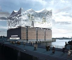 Elbe Philharmonic, Hamburg, Germany;  a new building on top of a 1960s warehouse will become a new cultural complex, with a public plaza, a hotel, apartments, and a philharmonic hall;  designed by Herzog & de Meuron