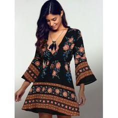 Plunging Neck 3/4 Sleeve Printed Dress | TwinkleDeals.com