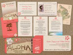 Aloha Wedding Set ! Save the Date Boarding Pass, Passport  Invitation