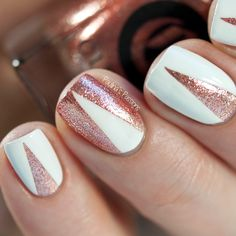 rose gold & white nail art - Google Search