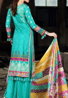 Buy Sea-Blue Printed Cotton Lawn Dress by Firdous Love Spring Collection 2015.