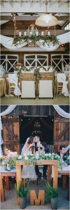 rustic country wedding ideas - barn wedding swetheart table ideas #weddings #countryweddings #barnweddings #barn #weddingreception ❤️ http://www.rosesandrings.com/barn-sweetheart-table-decor-ideas/