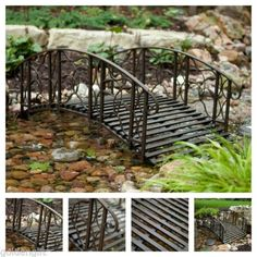 Metal Garden Bridges Outdoor Small Structure Home Porch Backyard 4 Foot  Black