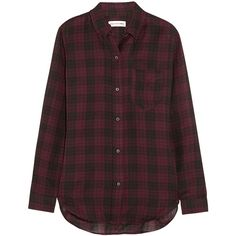 Étoile Isabel Marant Ipa plaid cotton-twill shirt ($115) ❤ liked on Polyvore featuring tops, shirts, flannels, blouses, burgundy, plaid top, burgundy top, cotton twill shirt, tartan plaid shirt and brown shirt