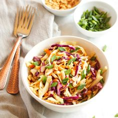This Asian Cabbage Salad with Ginger Peanut Dressing is a healthy, easy to make Thai inspired side dish made from simple, wholesome ingredients!