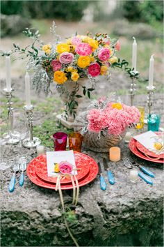 forest wedding filled with color