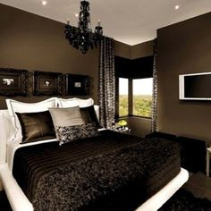 Beautiful bedroom! Black is so elegant! Love it!