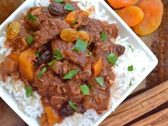 Moroccan beef stew is a unique savory and sweet combination with dried apricots and raisins.