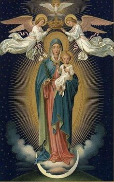The crowing of our Lady as Queen of heaven and earth Religious Pictures, Religious Icons, Religious Art, Blessed Mother Mary, Divine Mother, Blessed Virgin Mary, Hail Holy Queen, Happy Feast, La Madone