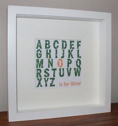 Nursery or baby room wall art. Personalised baby gift - Jungle alphabet picture. £20.00, via Etsy.