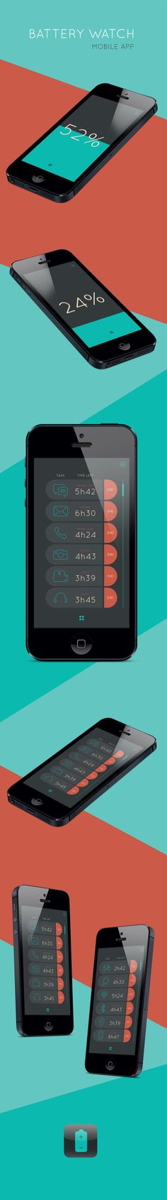 Concept mobile app - Battery Watch by Jacqui Proenca, via Behance  / not sure about the highly rounded corners...