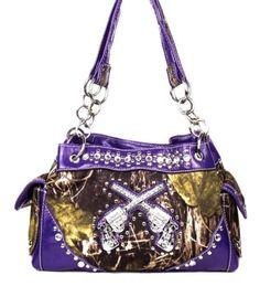 Purple Camo Fashion Double Pistol Two Gun Purse Handbag With Rhinestones