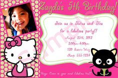 chococat party | Hello Kitty and Chococat Invitation by SimplybyDrea on Etsy, $12.00
