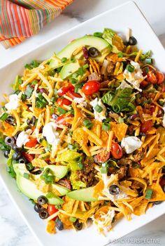Awesome - The Ultimate Dorito Taco Salad Recipe ASpicyPerspective . Dorito Taco Salad Recipe, Taco Salad Recipes, Taco Salads, Salad Recipes Video, Mexican Food Recipes, Dinner Recipes, Taco Salad Doritos, Wendys Taco Salad, Summer Salads