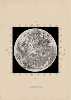 Scale Map of the moon Astronomy Print Recovered Vintage Image A3 to Frame. $22.00, via Etsy.
