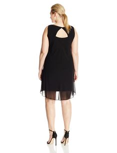 a084e166182 S.L. Fashions Womens PlusSize Over Lay Jewel Trimmed Sheath Dress Black 16W  -- Be sure