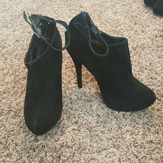 Black sexy suede ankle boots! Black 5 inch stilleto ankle boots. Look like new, worn only a few times. Very cute!!! story Shoes Ankle Boots & Booties