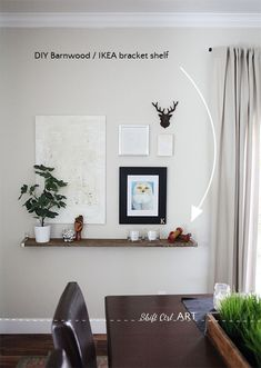 barnwood IKEA EKBY DIY shelf in dining room