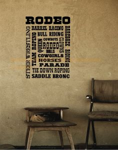 Horse-Rodeo collage-wall decal, Rodeo sticker 25 inches x 35 inches.