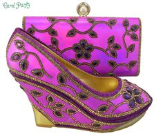 311d4045f1a6 New Arrival Fuchsia Color African Wedding Shoe and Bag Sets Fashion African  Shoes and Bag Matching Set Decorated