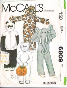 McCalls 6809 Childs Panda, Cat, Dog, Elephant Costume Sewing Pattern Medium 6-7
