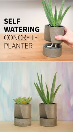 # Self-watering – We cannot keep plants alive. Today we're making a self-watering DIY planter out of concrete, hoping the plants will take care of themselves, haha. Self watering concrete planter Cement Art, Concrete Crafts, Concrete Projects, Concrete Design, Diy Concrete Planters, Diy Planters, Garden Planters, Planter Pots, Art Concret