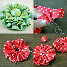 Making Fabric Flowers, Cloth Flowers, Felt Flowers, Flower Making, Diy Flowers, Diy Ribbon, Ribbon Crafts, Flower Crafts, Fabric Crafts