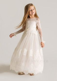 Cheap dresses dubai, Buy Quality dresses bolero directly from China dress swatch Suppliers: 2015 Princess Tulle Flower Girl Dresses Long Sleeves Custom Made Lace Designer lace Appliques First Communion Dresses Little Girl Pageant Dresses, Dresses Kids Girl, Girl Outfits, Tulle Flower Girl, Cheap Flower Girl Dresses, Cheap Dress, Beach Dresses, Princess Flower, Dress Beach