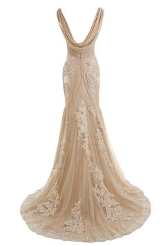 Sunvary Gorgeous Champagne Mermaid Wedding Dresses for Bride Lace and Chiffon at Amazon Women's Clothing store: