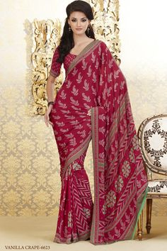 Alluring Crepe Saree In Red   (SKU:#1366_11_6623)