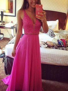 New Real Images Hot Pink Prom Dresses V Neck Beading Chiffon Long Formal Evening Dresses Party Dress Vestidos De Festa Longo