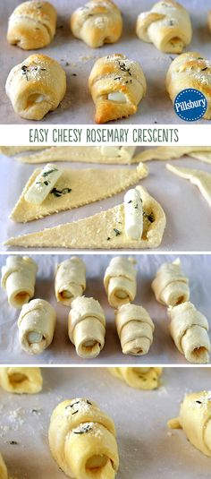 Take your crescents up a notch this Thanksgiving! These Easy Cheesy Rosemary Crescent Rolls take a fun and delicious twist on your favorite side. This easy recipe is filled with gooey che (Favorite Desserts Crescent Rolls) Crescent Rolls, Crescent Roll Recipes, Fingerfood Party, Party Appetizers, Thanksgiving Appetizers, Christmas Appetizers, Party Desserts, Thanksgiving Holiday, Cocina Natural