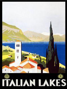 TRAVEL ITALIAN LAKES MOUNTAIN CHURCH ITALY VINTAGE POSTER ART PRINT 986PY   eBay