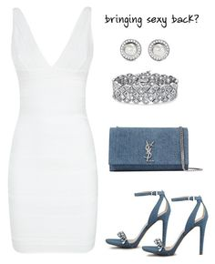 """""""bringing sexy back"""" by gallant81 ❤ liked on Polyvore featuring Hervé Léger, David Yurman, Yves Saint Laurent, GUESS, Palm Beach Jewelry, women's clothing, women, female, woman and misses"""
