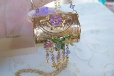 Rare Kirks Folly Fairy Butterfly Locket Purse Necklace