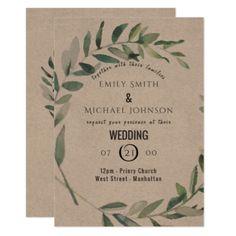#Rustic Watercolor Leaf Kraft Wedding Invitation - #weddinginvitations #wedding #invitations #party #card #cards #invitation #typography